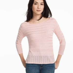 WHBM Pink 3/4 Sleeve Boxy Pullover Sweater DF15
